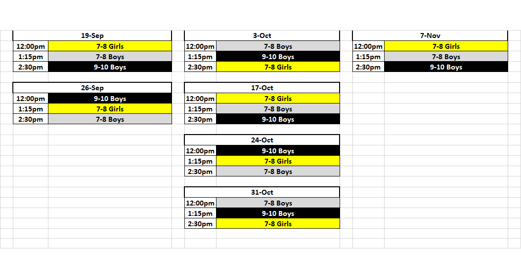 7-8 Boys and Girls, 9-10 Boys Schedule